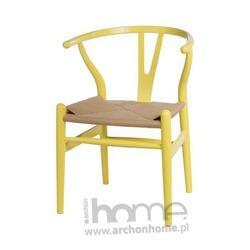 Krzesło Wicker color, żółte - inspirowane Wishbone