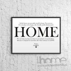 Plakat dekoracyjny 50x70 cm HOME biały