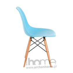 Krzesło Socrates błękitne, drewniane nogi