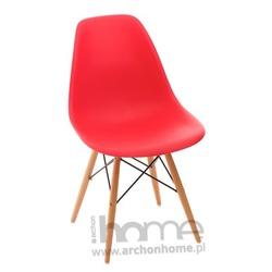 Krzesło Socrates czerwone drewniane nogi