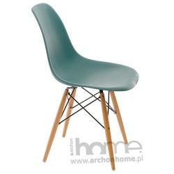 Krzesło Socrates navy green drewniane nogi