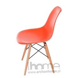 Krzesło Socrates pomarańczowe, drewniane nogi