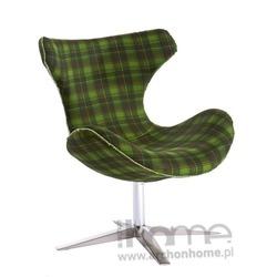 Fotel Shelly zielona krata