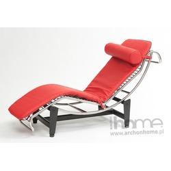 Leżanka Le Corbusier czerwona skóra