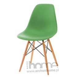 Krzesło Socrates ciemnozielone, drewniane nogi