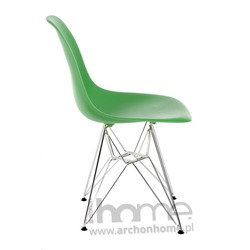 Krzesło Socrates ciemnozielone, chromowane nogi