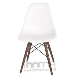 Krzesło Socrates białe, drewniane nogi dark