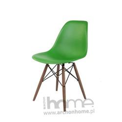 Krzesło Socrates ciemnozielone drewniane nogi dark