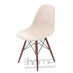 Krzesło Socrates beżowe drewniane nogi dark