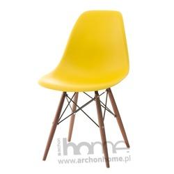 Krzesło Socrates żółte drewniane nogi dark