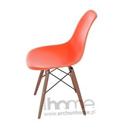 Krzesło Socrates pomarańczowe drewniane nogi dark