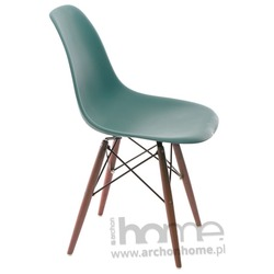 Krzesło Socrates navy green drewniane nogi dark