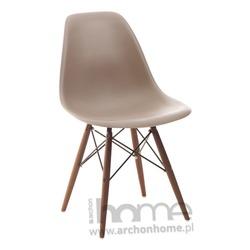 Krzesło Socrates szare drewniane nogi dark