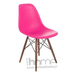 Krzesło Socrates różowe drewniane nogi dark