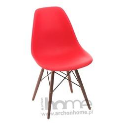 Krzesło Socrates czerwone drewniane nogi dark