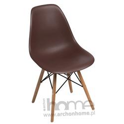 Krzesło Socrates brązowe drewniane nogi