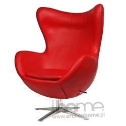 Fotel Jajo szeroki czerwony skóra ekologiczna