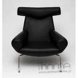 Fotel Wół czarna skóra - inspirowany OX chair