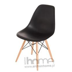 Krzesło Socrates czarne, drewniane nogi