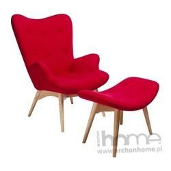 Fotel z podnóżkiem CONTOUR czerwony