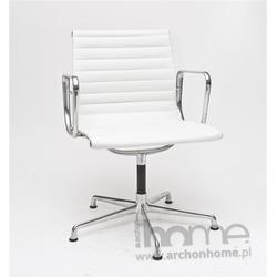 Fotel konferencyjny biała skóra - inspirowany EA108 skóra