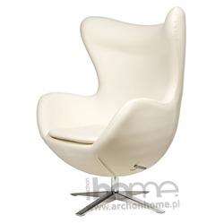 Fotel Jajo szeroki biały skóra ekologiczna