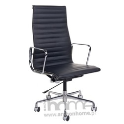 Fotel biurowy 5 czarna skóra, chrom - inspirowany EA119 skóra, chrom