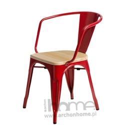 Krzesło Paris Arms Wood czerwony sosna naturalna