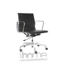Fotel biurowy czarna skóra, chrom - inspirowany EA117 skóra, chrom