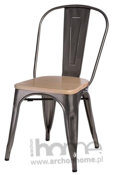 Krzesło Paris Wood metaliczny sosna naturalna