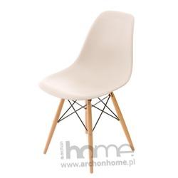 Krzesło Socrates beżowe drewniane nogi