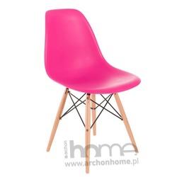Krzesło Socrates różowe drewniane nogi